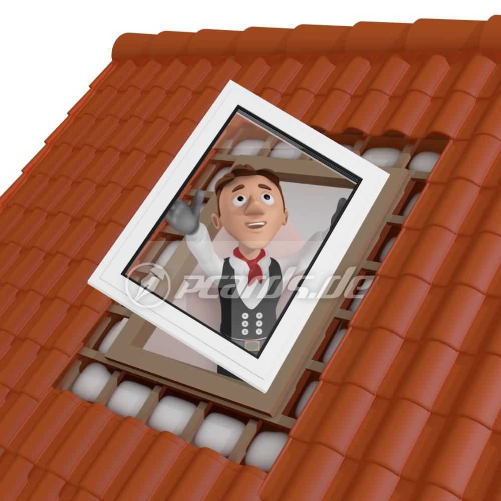 3d-illustration : dachfenster-einbau vom dachdecker